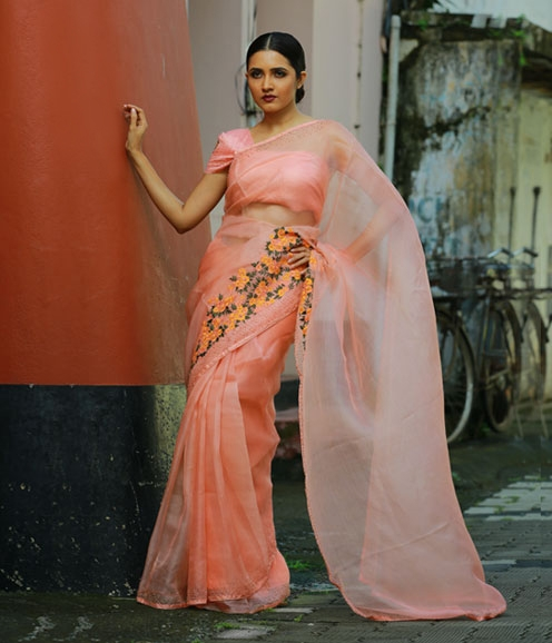 Peach Organza saree embellished in floral motif