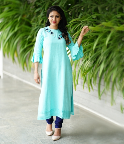 Cyan Cotton Mix Kurti (Unstitched)