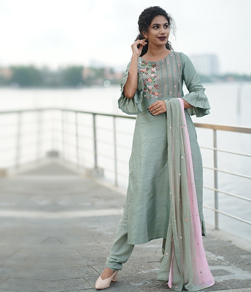 Olive Green Chandheri suit with embossed thread and pearl work