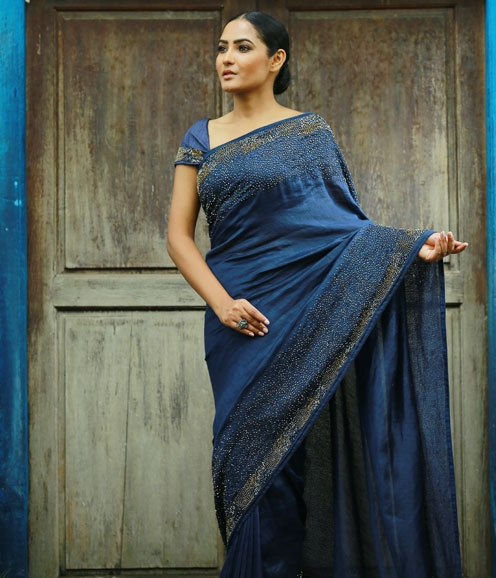 Blue Heavy-Handworked Linen Saree