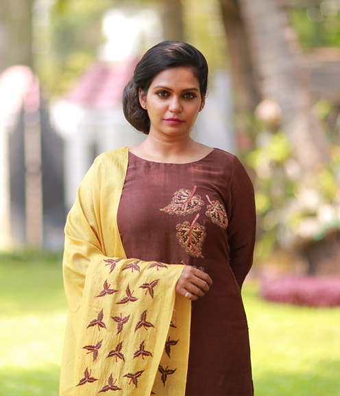 Chocolate Brown Linen Suit with Musturd Yellow Tussar Dupatta