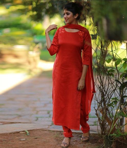 Bright Orange Chandheri with Embellished Yoke