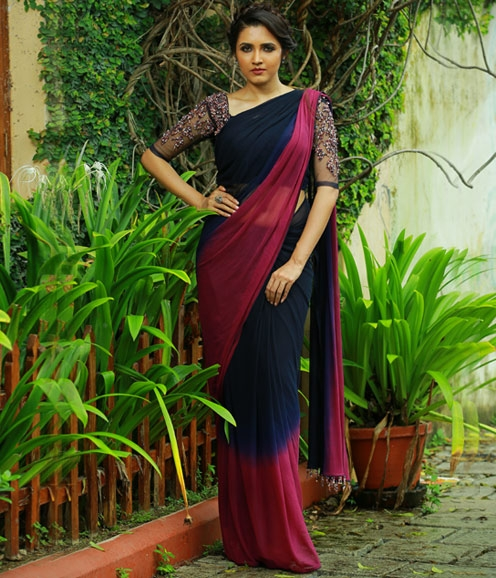 Maroon Navy blue Net Saree with Embellished Net Blouse