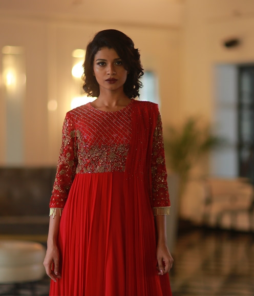 Red Zardozi Gown with Geometrical Embellishments