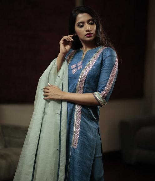 Prussian Blue Tussar Silk Suit