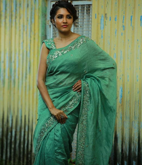 Mint Green Linen Saree