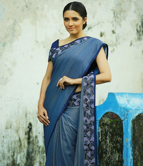 Embellished Navy Shimmer Georgette Saree