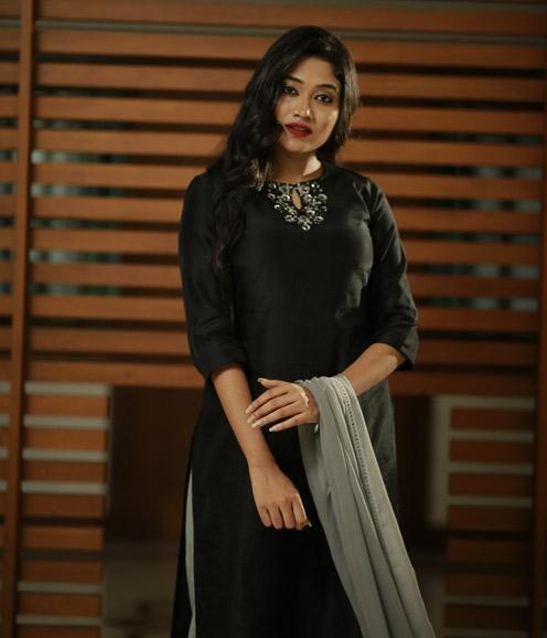 Black Chandheri with Floral Embellishment