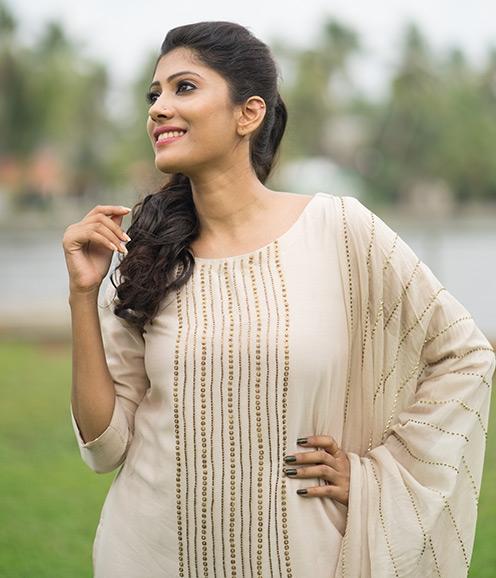 Cream Chandheri with Sequin Embellished work