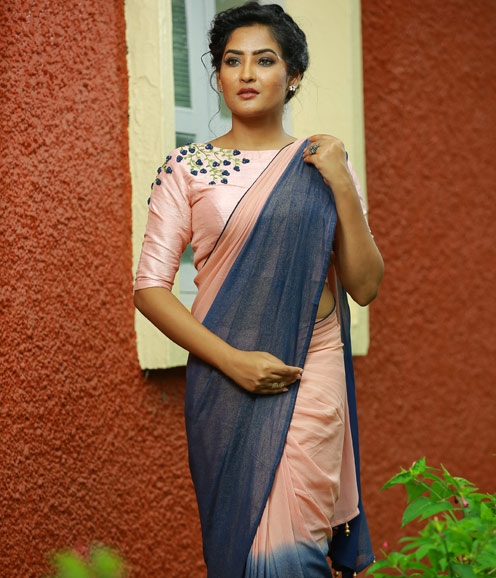 Peach Navy blue shimmer  Georgette Saree and Pink Blouse with Thread Work only