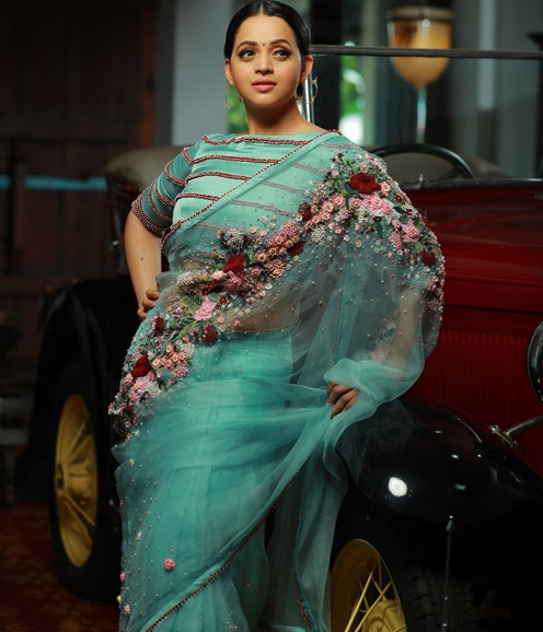 Aqua Blue Organza Saree with Beaded Blouse