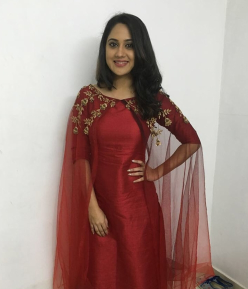 Mia in a Red Cape Salwar