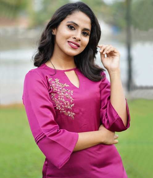 Rani Pink Satin Kurti with Gold Sequins work ( Unstitched )