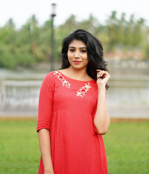 Orangish Red Cotton Mix Kurti (Unstitched)