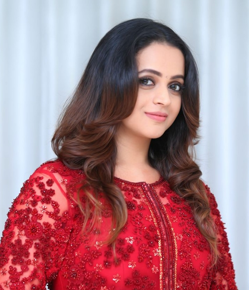 Bhavana in Red Jacket Lehenga