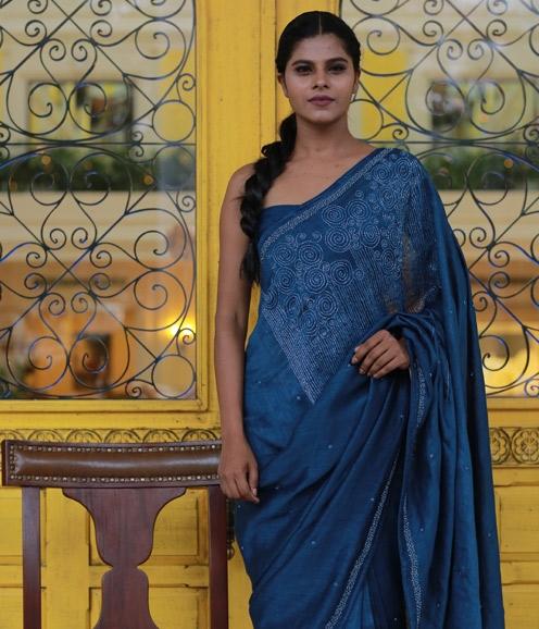Indigo blue Linen Saree with Handwork on yoke
