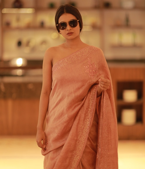 Nude Shade Linen Saree with Pearl and Handwork Highlights