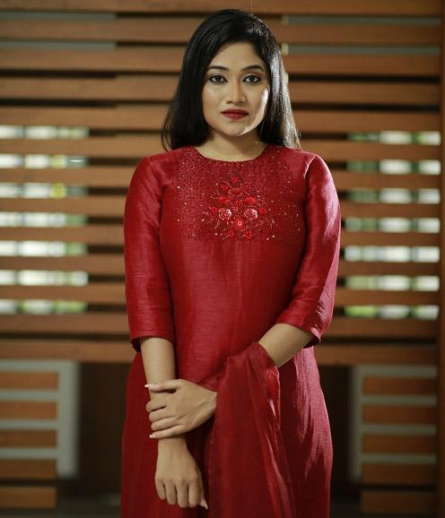 Deep Maroon Linen Suit with Organza Dupatta