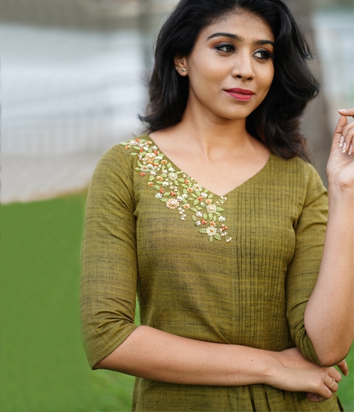 Olive Green Linen Kurti with Hand work on Yoke ( Unstitched )