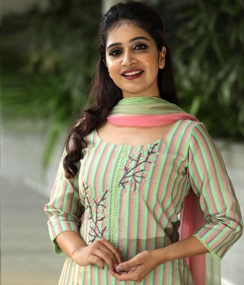 Mint green stripes chandheri salwar suit with beadwork on yoke