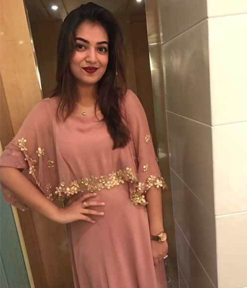 Nazriya in stunning brown pastel shade cape gown
