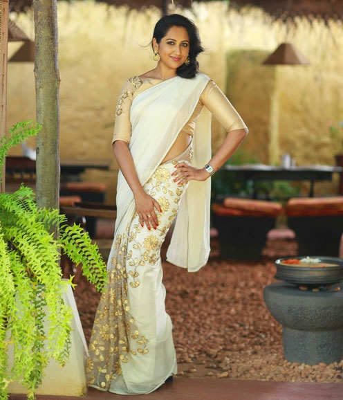 Off White Net  Saree Appliqued