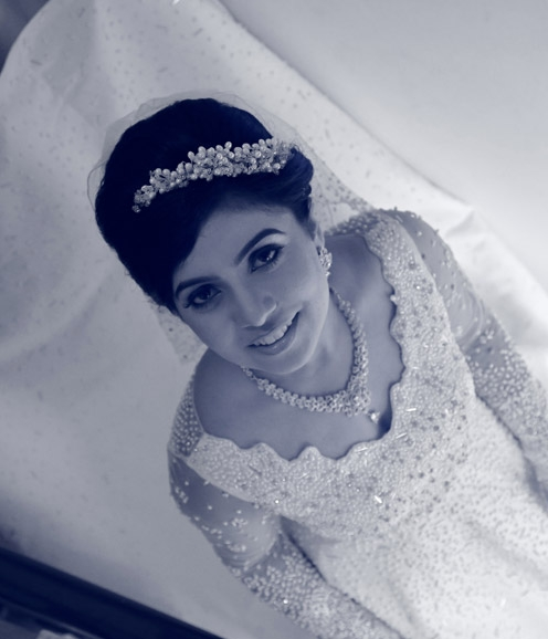 White Zardosi-pearl embellished gown