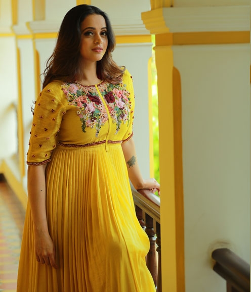 Mustard Yellow Gown with Pin Tucks