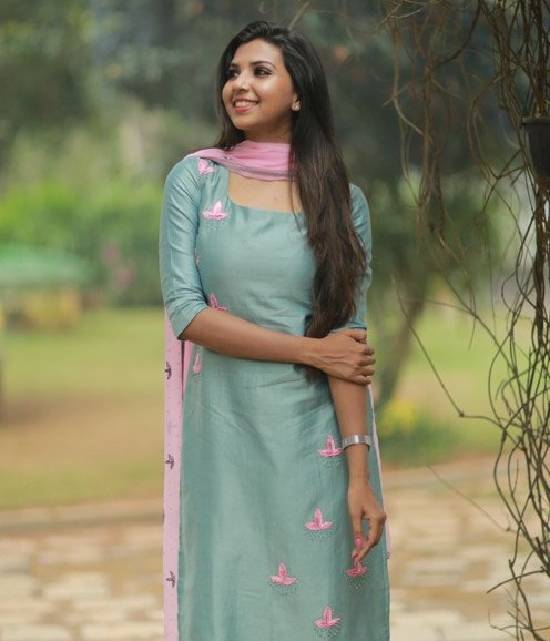 Aqua Green Chanderi Suit with Hand-Embroidery