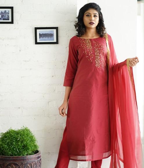 Pinkish Red Chandheri with Handwork