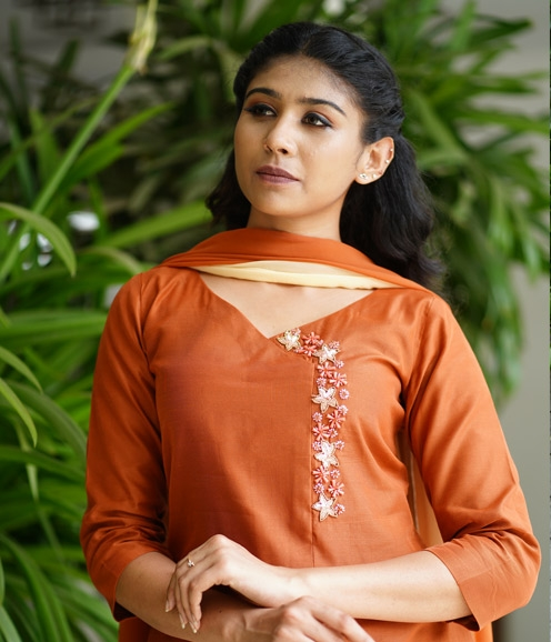 Burnt Orange Chandheri Suit with Handwork