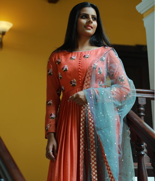 Burnt Orange Assymetrical Anarkali