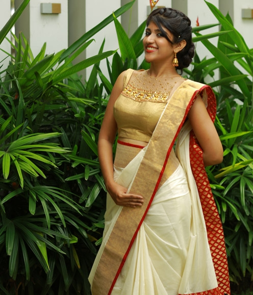 Maroon Gold Bordered Saree
