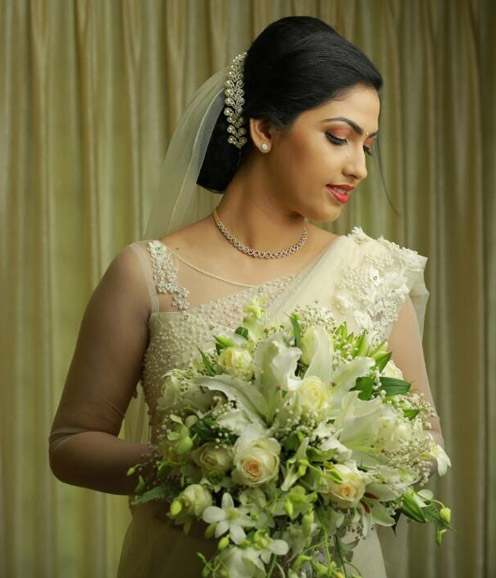 Christian Bridal NetSaree with Pearl Highlights