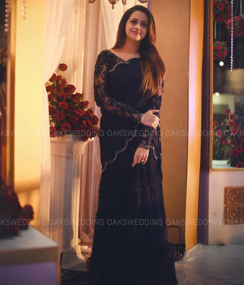 Bhavana in a Midnight Bluie Lehenga Fully Handworked