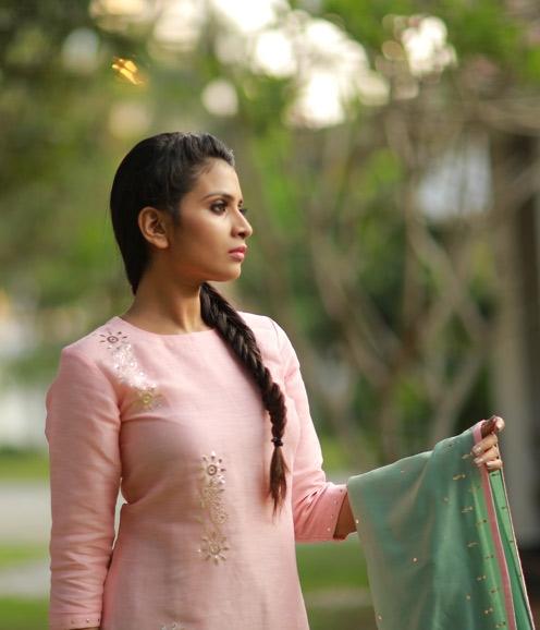 Pink Linen Gota Patti Work Suit with Chandheri Dupatta