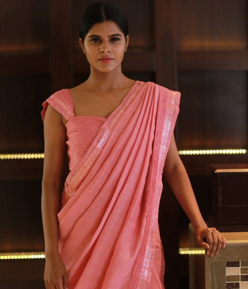 Pink Linen Saree with Sequin Borders
