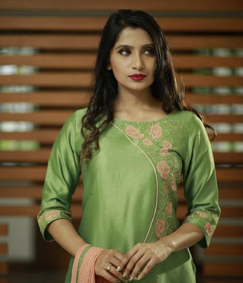 Parrot Green Chandheri Suit