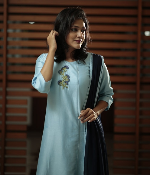 Blue Chandheri Suit with Hand Embroidered Yoke