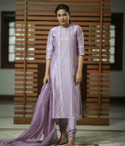 Lavender Chandheri Pearl Embellished