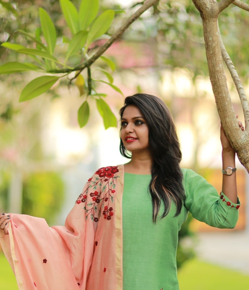 Parrot Green Linen with Handworked Dupatta