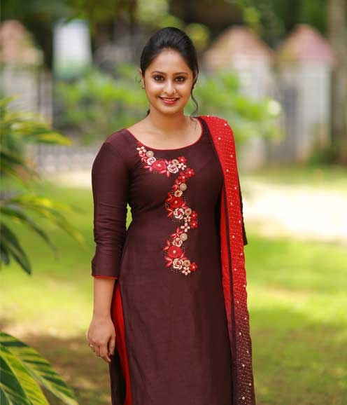 Wine Red Linen Set with Hand Embroidered Yoke and Duppatta