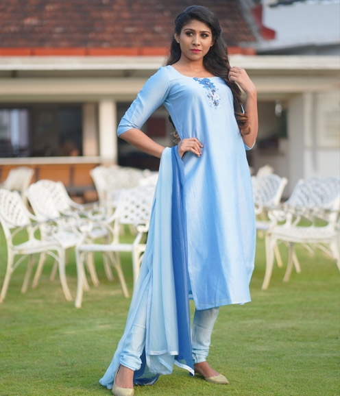 Blue Chandheri Suit with Sequined Work