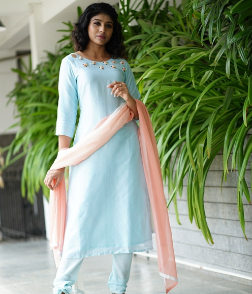 Ice Blue Chandheri Suit with French Knots
