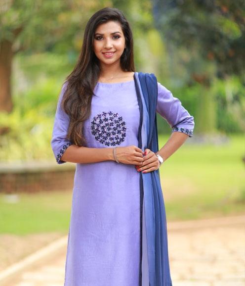 Purple Chanderi Suit with Thread Work