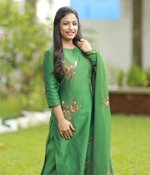 Green Chanderi Suit Sequined