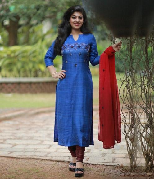 Royal Blue Jute Tussar Mic Salwar Set