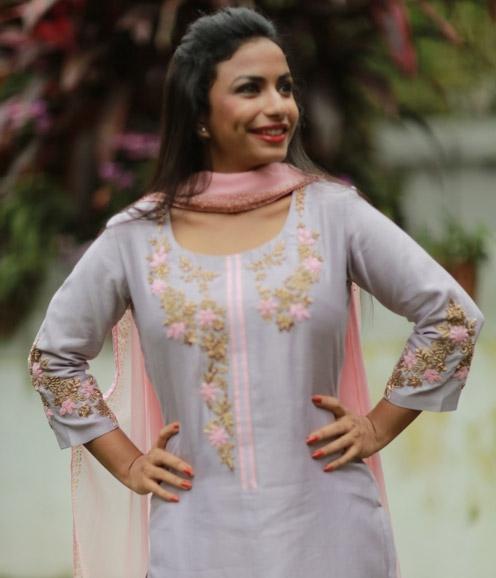 Lavender Chanderi Suit with Zardosi Work