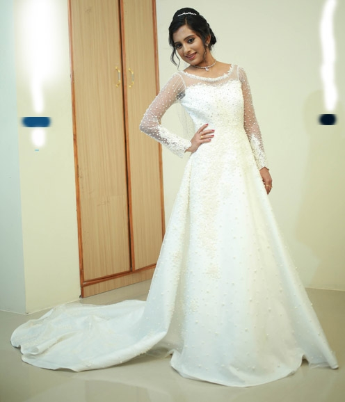 Christian Bridal Gown with Pearl Embellished