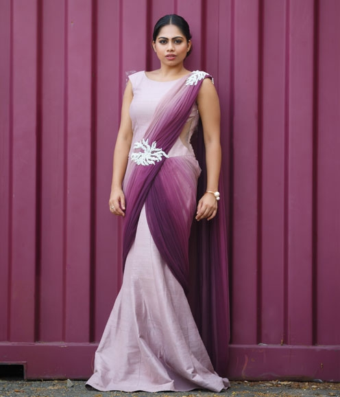 Lavender Purple Saree Gown